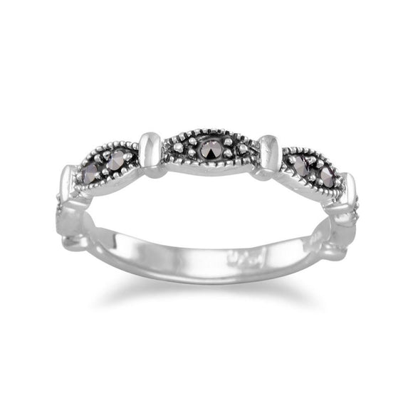 Marquise Shape Band with Marcasite