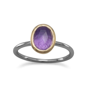 Two Tone Oval Amethyst Ring