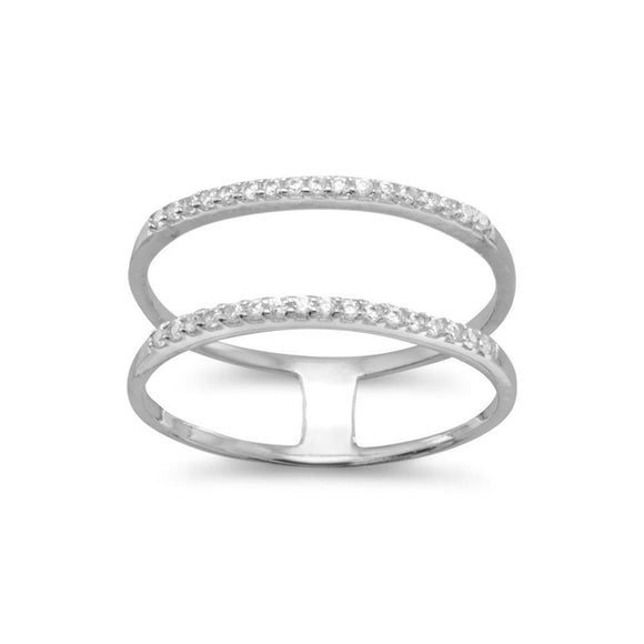 Rhodium Plated Double Row CZ Ring