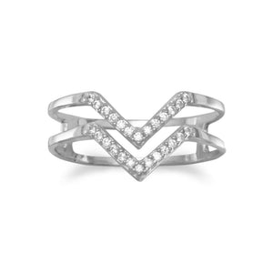 "Rhodium Plated Double Row CZ ""V"" Ring"