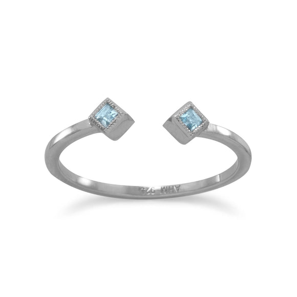 Rhodium Plated Swiss Blue Topaz Open Design Ring