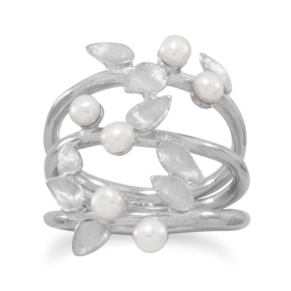 Rhodium Plated Leaf with Cultured Freshwater Pearl Split Band Ring
