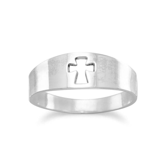 Small Band with Cut Out Cross Ring