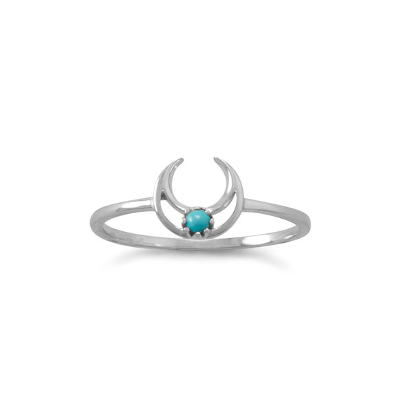Rhodium Plated Turquoise Crescent Ring