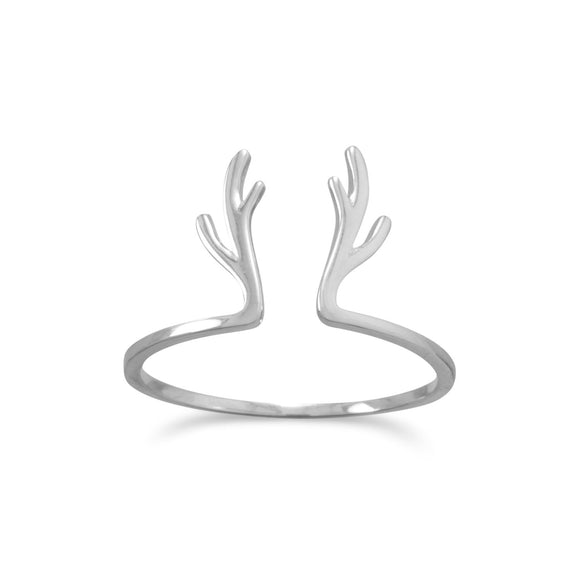 Rhodium Plated Adorable Antler Split Ring