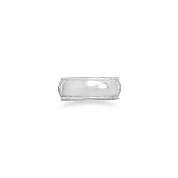 Polished Toe Ring with Ridged Edge