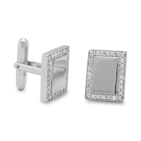 Rhodium Plated Rectangular Cuff Links with CZ Edge