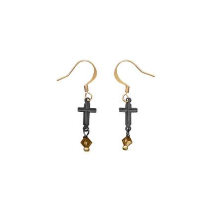 Two Tone Cross Fashion Earrings
