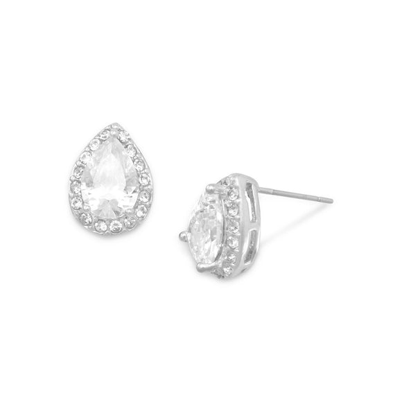 Pear CZ and Crystal Halo Fashion Stud Earrings