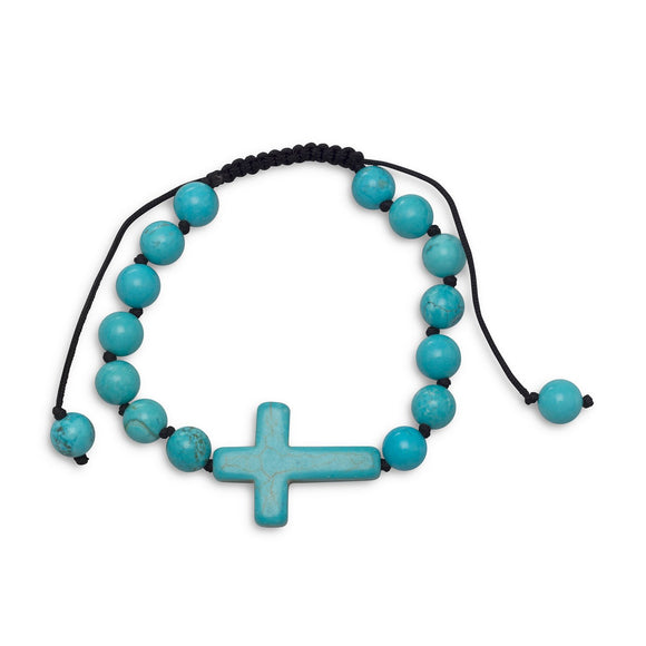 Adjustable Magnesite Cross Bracelet