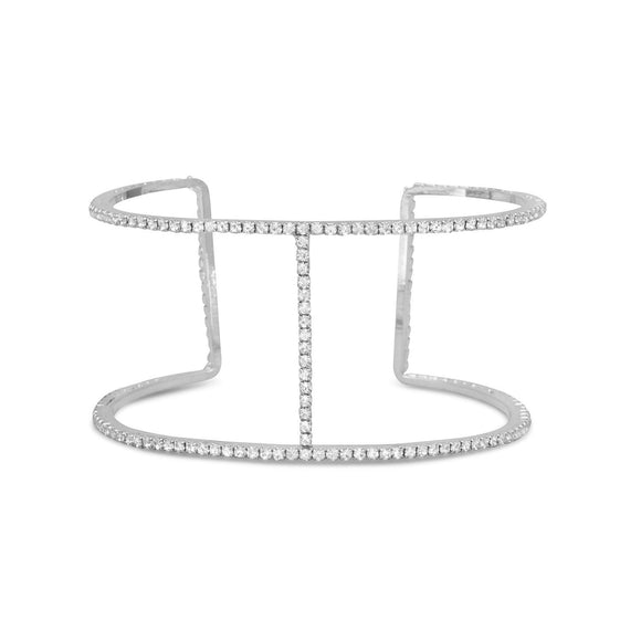 Sparkling Double Row Crystal Fashion Cuff Bracelet