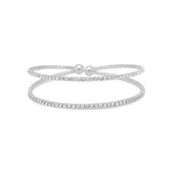 Double Row Crystal Fashion Memory Bracelet