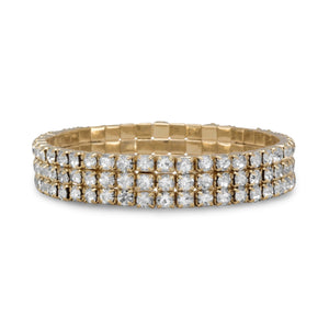 Gold Tone Crystal Fashion Stretch Bracelet