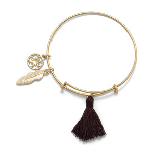 Gold Tone Expandable Brown Charm Fashion Bangle Bracelet