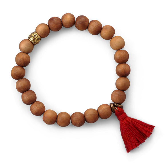 Wood Bead with Red Tassel Fashion Bracelet