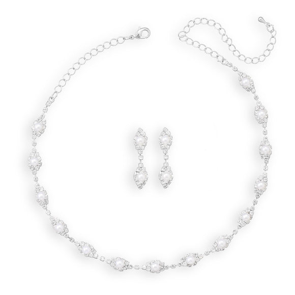 Elegant Marquise Crystal and Simulated Pearl Fashion Necklace and Earring Set