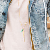 "14 Karat Gold Plated ""U"" Design with Long Bar Drop Fashion Necklace"