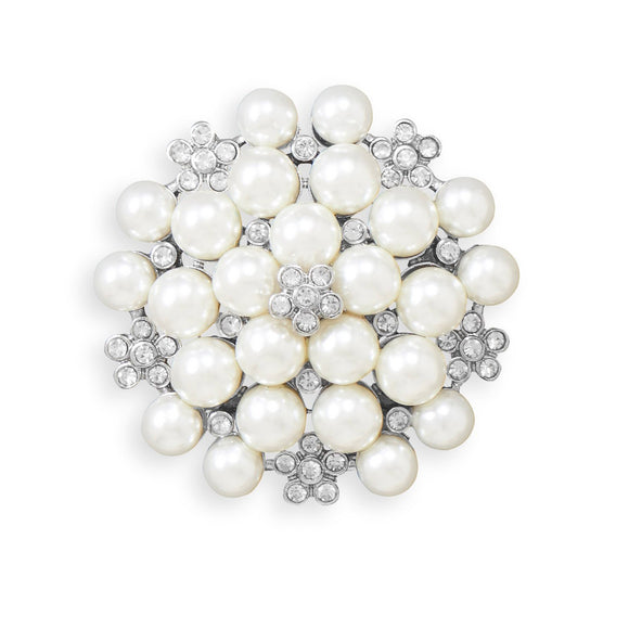 Simulated Pearl and Crystal Flower Fashion Pin