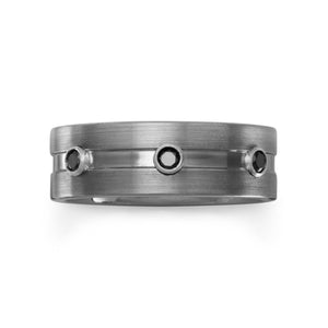 Brushed Tungsten Ring with Black CZs