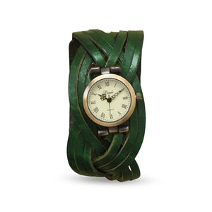 Green Braided Leather Fashion Watch