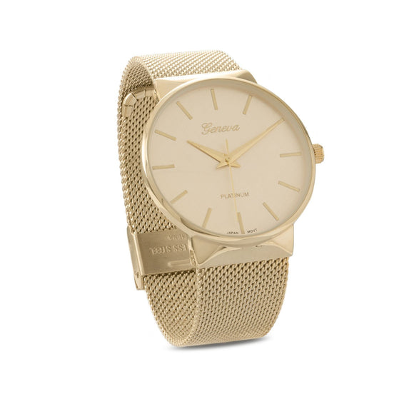 Gold Tone Mesh Unisex Fashion Watch