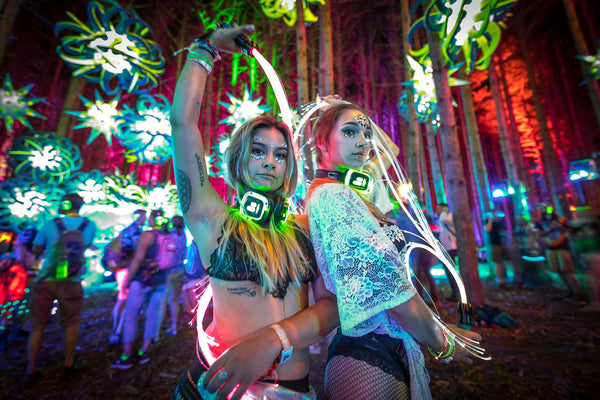 Beautiful Women with Pixel Whips at Electric Forest