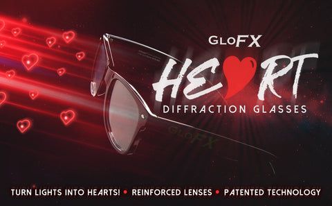 Heart Diffraction Glasses - See hearts when you look at lights!