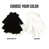 Choose your color: black gloves with white tips or basic white