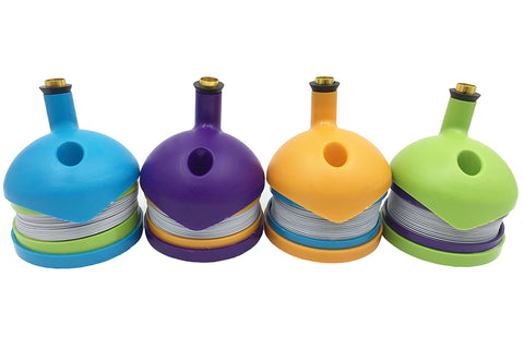 bukket style bongs for sale - availablble in blue, purple, yellow and green