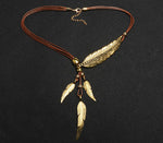 Bohemian Feather Pendant Necklace