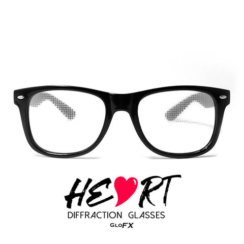 GloFX Heart Diffraction Glasses black - Best diffraction glasses