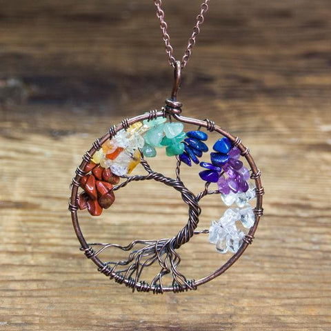 7 chakra tree of life necklace
