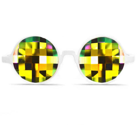 GloFX Bug Eye Kaleidoscope Glasses - White