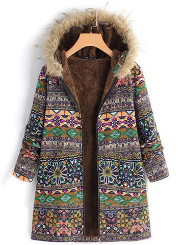 Fleece Lined Long Hippie Jacket