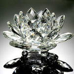 clear crystal glass lotus flower