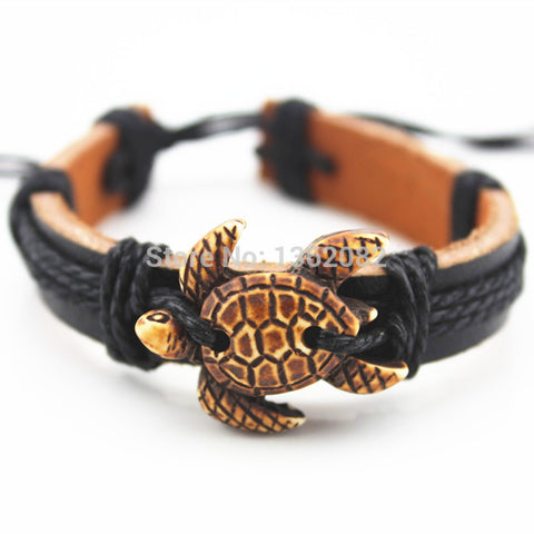 Tribal Carved Cute Leather Turtle Summer Bracelet