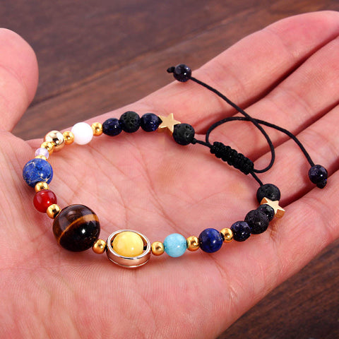 The Celestial Eight Planets Beaded Galaxy Fashion Bracelet