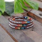 7 Chakra Leather Wrap Crystal Bracelet with Hematite