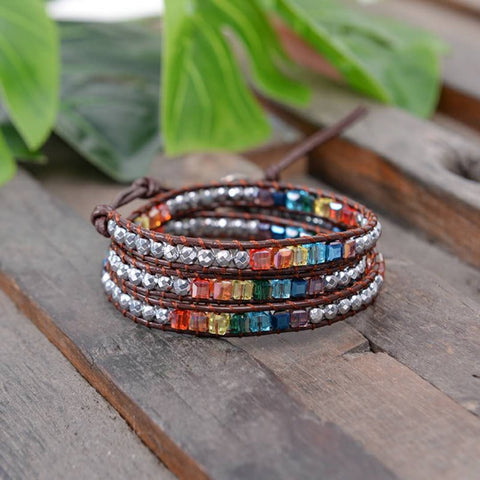 7 Chakra Triple Leather Wrap Pulsera with Hematite