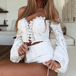 Lantern Sleeve Lace Up Blouse