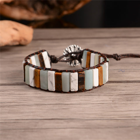 Boho Stone Vintage Leather Wrap Bracelet - White Turquoise, Agate & Amazonite