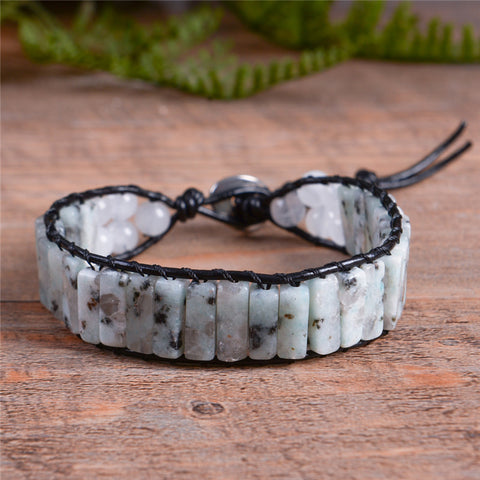 Agate and Labradorite Stone Handmade Leather Wrap Bracelet