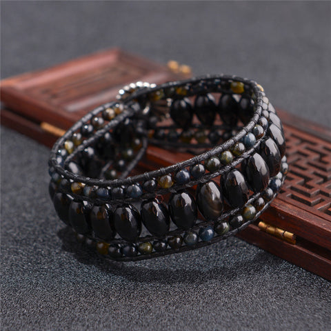 Black Agate Leather Wrap Pulsera