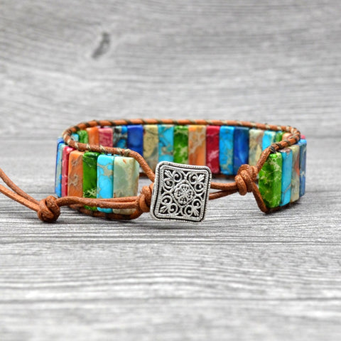 Colorful Mix Dyed Stone Wrap Bracelet