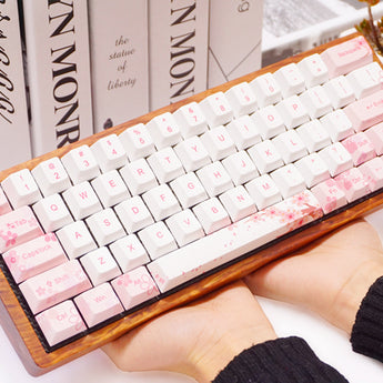 Cherry profile Dye Sub Keycap Set thick PBT plastic sakura flower white pink colorway for gh60 xd64 xd84 xd96 tada68 87 104