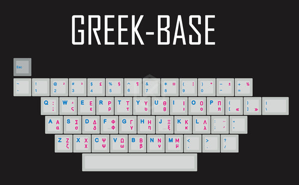 kprepublic 139 greek root Greece blue cyan font language Cherry profile Dye Sub Keycap PBT for gh60 xd60 xd84 tada68 87 104