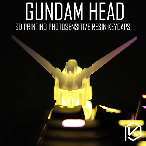 Novelty Shine Through Keycaps 3d printed print printing pla gundam head custom mechanical keyboards light Cherry MX compatible
