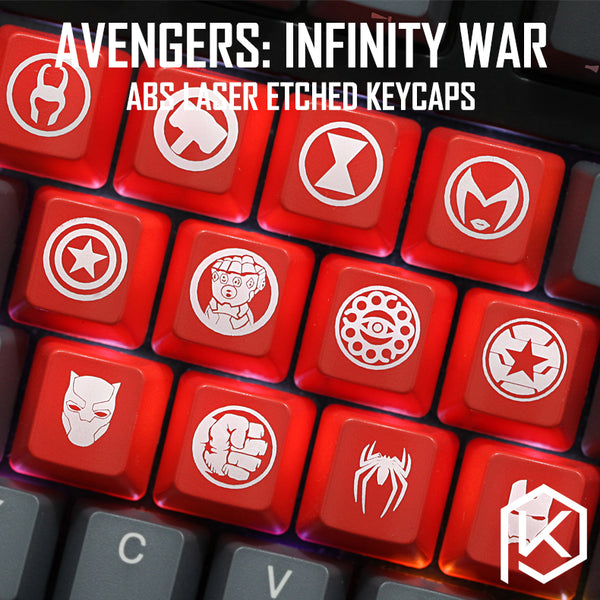 Novelty Shine Through Keycaps ABS Etched, Shine-Through Avengers Infinity War hero logo black red custom mechanical keyboards