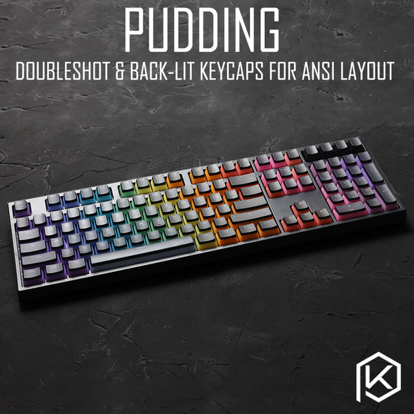 [CLOSED]【GB】Pudding rainbow doubleshot & dip dye keycaps for ansi layout keycap 87 tkl 104 ansi