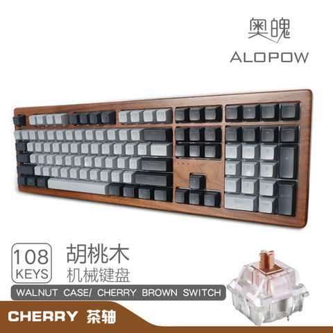 Alopow 108 100% Mechanical keyboard wooden case rgb type c usb-c software program hot swappable cherry switch